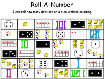 Roll-A-Number ~ Subitize Up To 6