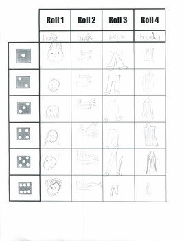 Roll A Picture Dice Game Worksheet