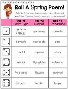 Roll A Poem - Poetry Activity