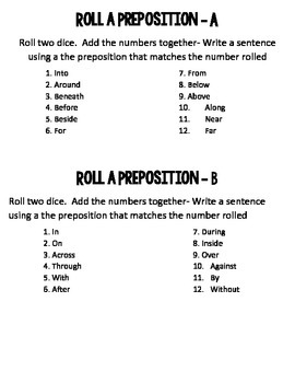 Roll A Preposition By Kelly England