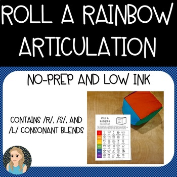 Rainbow Blends Articulation: No-Prep Colored Dice Speech Therapy Worksheets