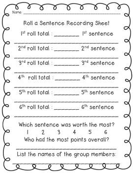 Roll A Sentence - Back To School
