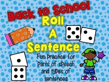Roll A Sentence: Writing Sentences Practice Activity - Bac