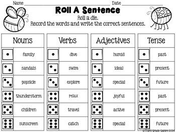 Roll A Sentence: Writing Sentences Practice Activity - Summer Theme