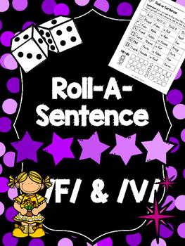 Roll-A-Sentence /f/ & /v/ - Articulation Printables for Sentence Level Speech Tx