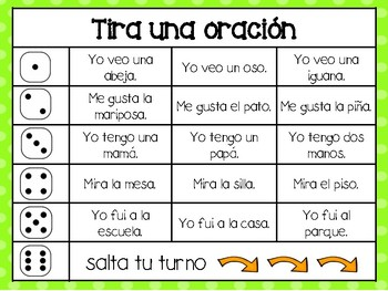 Roll A Sentence in Spanish
