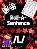 Roll-A-Sentence /l/ - Articulation Printables for Sentence Level - Speech Tx