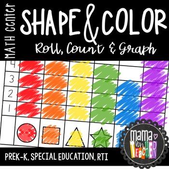 Math Center: Shape & Color Roll, Count & Graph
