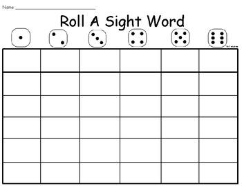 Roll A Sight Word - BLANK
