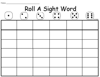 Roll A Sight Word - BLANK