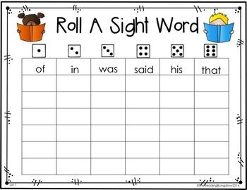 Roll A Sight Word EDITABLE!!!  {Freebie}