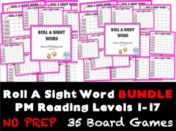 Roll A Sight Word- PM Benchmark Reading Levels 1 to 17{BUNDLE}