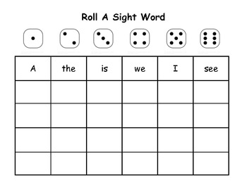 Roll A Sight Word Packet