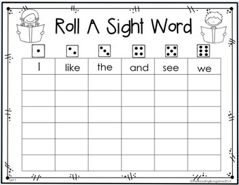 Roll A Sight Word all 88 Kindergarten Journeys Sight Words