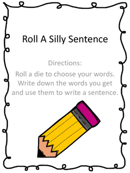 Roll A Silly Sentence Parts of Speech Freebie