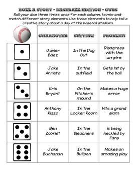 Roll A Story - Creative Writing - Baseball Theme