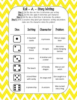 Roll A Story Writing Activity Center