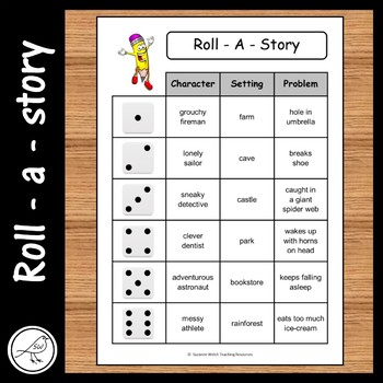 Roll A Story - character, setting, problem.  9 cards plus blank template.