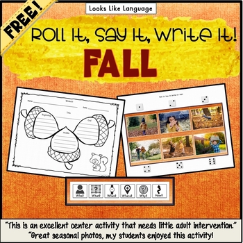 Speech and Language Activities: Roll It, Say It, Write It- Fall!