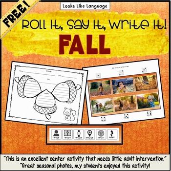 Speech Language Free Photo Activities Fall Roll It, Say It, Write It