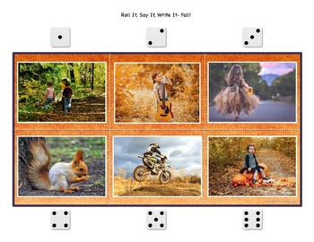 Speech Therapy | Photo Activities | Fall | FREE Roll It Say It Write It