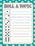 Roll A Topic Ice Breaker Freebie