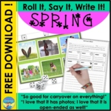 Sentence Building Activities | Spring Photos | FREE Roll It Say It Write It