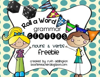Roll-A-Word Centers-Nouns and Verbs Freebie