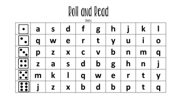 Roll A Word~ Letter Naming Fluency