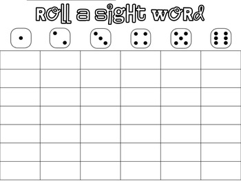 Roll A Word (Paper Practice for teaching first grade words)