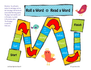 Roll A Word-Read A Word 2nd Grade Sight Word Practice