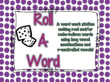 Roll A Word Word Work