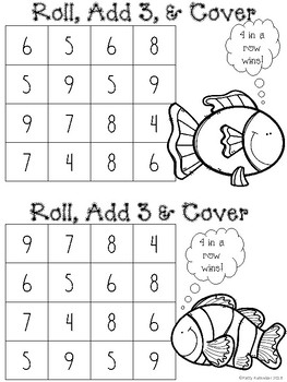 Roll, Add 1, 2, or 3 and Cover Halloween Themed in Black and White