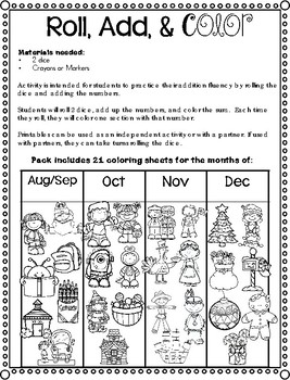 Roll, Add, & Color Printable Pack Aug - Dec
