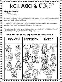 Roll, Add, & Color Printables Pack for January - March