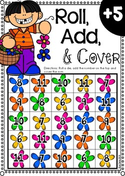 Roll, Add, & Cover Board Games (Spring Themed)
