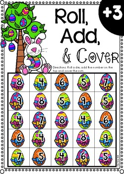 Roll, Add, & Cover Dice Game (Easter Theme)