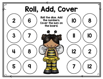 Roll, Add, Cover Math Game