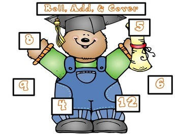 Roll, Add, & Cover Math Game: End of Year Version