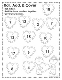 Roll, Add, & Cover Valentine's Day Math Center (Adding 3 Numbers)