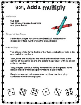 Roll, Add & Multiply - Multiplication Games with Dice