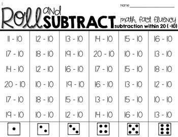 Roll & Add/Subtract within 20-Math Fact Fluency BUNDLE