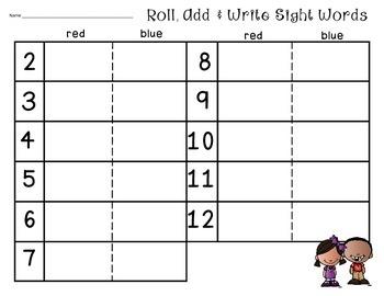 Roll, Add & Write Sight Words