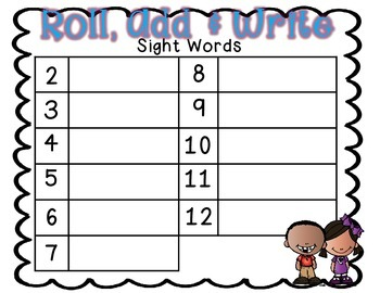 Roll, Add & Write Sight Words