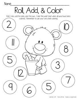 Roll, Add, and Color - Christmas Polar Bear Edition