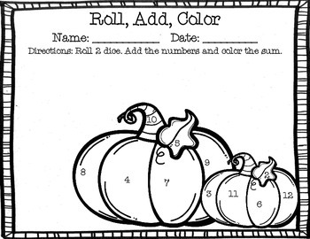 Roll, Add, and Color- Fall Edition