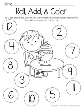 Roll, Add, and Color - Ice Cream  Kids Edition
