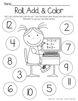 Roll, Add, and Color - Math Kids Edition