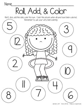 Roll, Add, and Color - Playground Kids Edition
