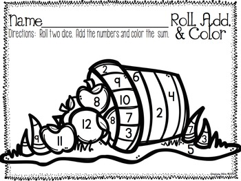 Roll, Add, and Color Printable Pack {Set #1}